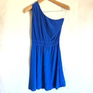 Amour Vert blue one shoulder silk dress XS